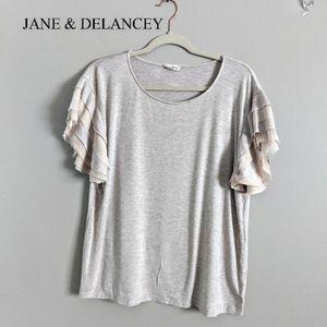 Jane + Delancey Beige Ruffle Sleeve TShirt